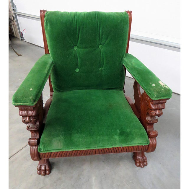 Gothic Renaissance Style Green Velvet Upholstered Winged Griffin Chair For Sale - Image 3 of 8