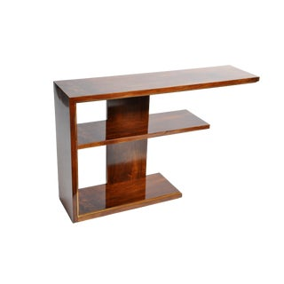 Hungarian Art Deco Walnut Console With Shelves For Sale