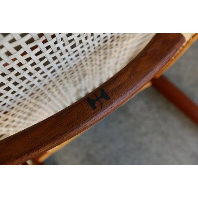 Mid-Century Modern Johannes Hansen for Hans Wegner Round Teak Side Chair For Sale - Image 10 of 12