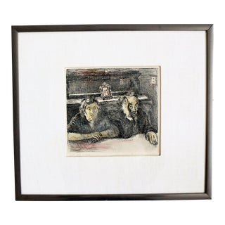 Mid Century Modern Raphael Soyer Artist Proof of the Artist's Parents Signed For Sale
