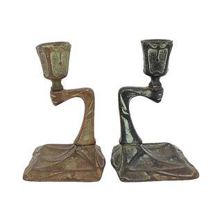 Arts & Crafts Bronze Candlesticks, Pr For Sale