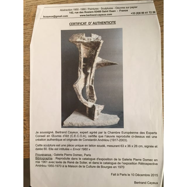 Brown Constantin Andreou Welded Brass Sculpture For Sale - Image 8 of 10