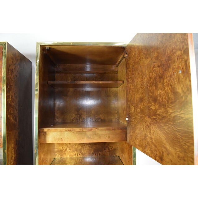 Mid-Century Modern Milo Baughman Styled Burled Walnut Wall Units by Founders of Thomasvile - A Pair For Sale - Image 3 of 10