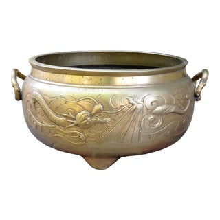 """Large 13"""" Wide Chinese Brass Tripod Censer With Dragon Decoration For Sale"""