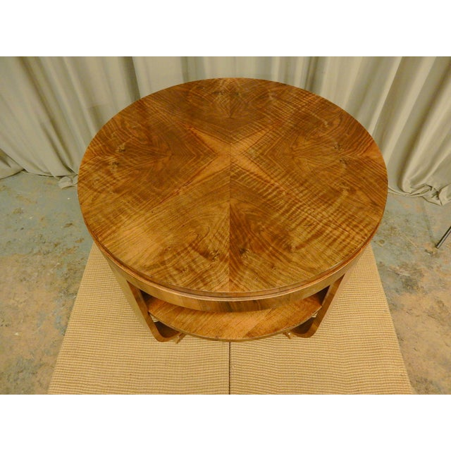 1930s Art Deco Walnut Round Side Table For Sale - Image 5 of 6