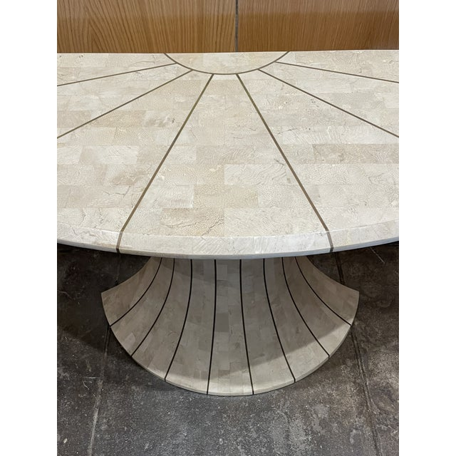 1970s Maitland Smith Tessellated Travertine Demilune Table With Brass Inlay For Sale - Image 5 of 13
