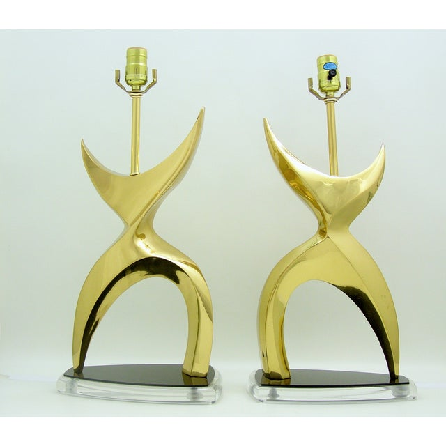 Gold Mid-Century Modern Brass Black Lucite Abstract Figural Table Lamps Inspired by Phillipe Jean MCM - a Pair Millennial For Sale - Image 8 of 11
