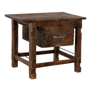 Antique Rustic Swedish Work Table With Large Single Drawer For Sale
