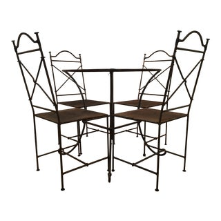 Wrought Iron Outdoor Patio Dining Set For Sale