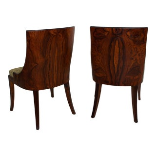 French Art Deco Pair of Barrel Back Tub Rosewood Side Chairs After Gilbert Rohde For Sale