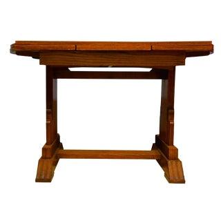 1930s Art Deco Golden Oak Draw-Leaf Dining Table For Sale