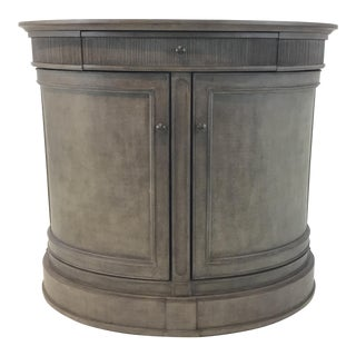 American Drew Transitional Gray Wood Demi-Lune Cabinet For Sale