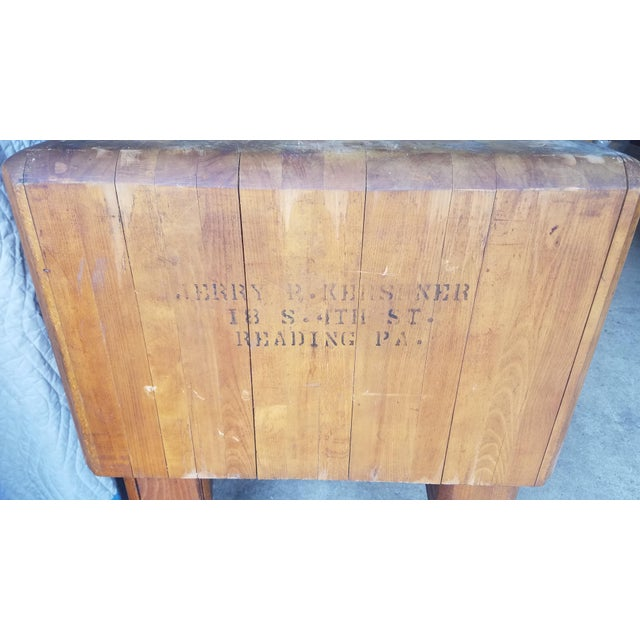 Wood Early 20th Century Antique Butcher Block For Sale - Image 7 of 13