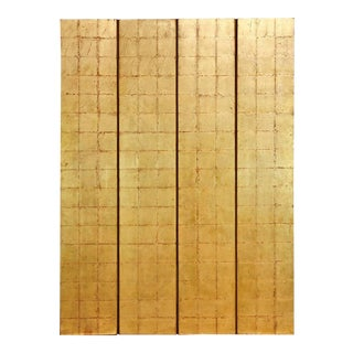 Four-Panel Gold Leaf Room Divider Two Sided Screen For Sale