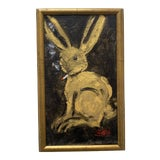 """Image of """"Smoking Bunny"""" Contemporary Acrylic Painting, Framed For Sale"""