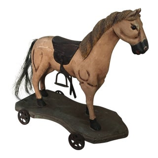 Antique Ceramic Horse Equestrian Rolling Toy For Sale