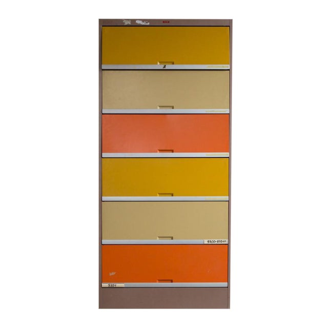 Vintage Orange & Yellow Steel Tab Office Cabinets For Sale
