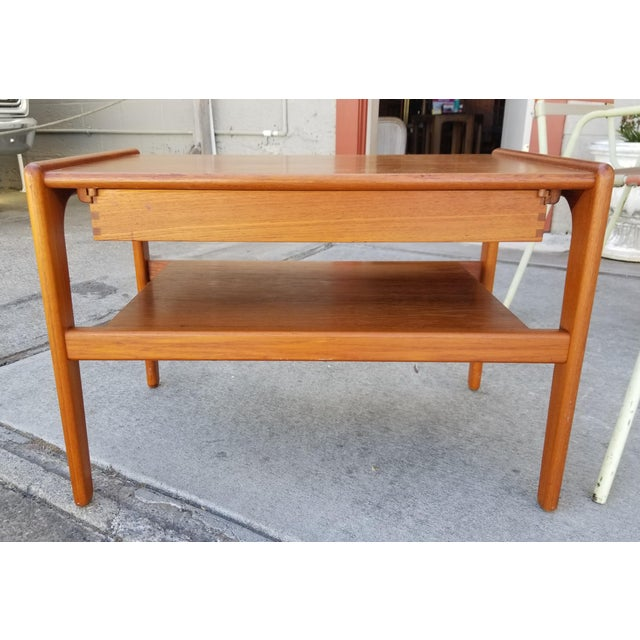 Teak Danish Modern Side Table With Drawer For Sale - Image 4 of 11