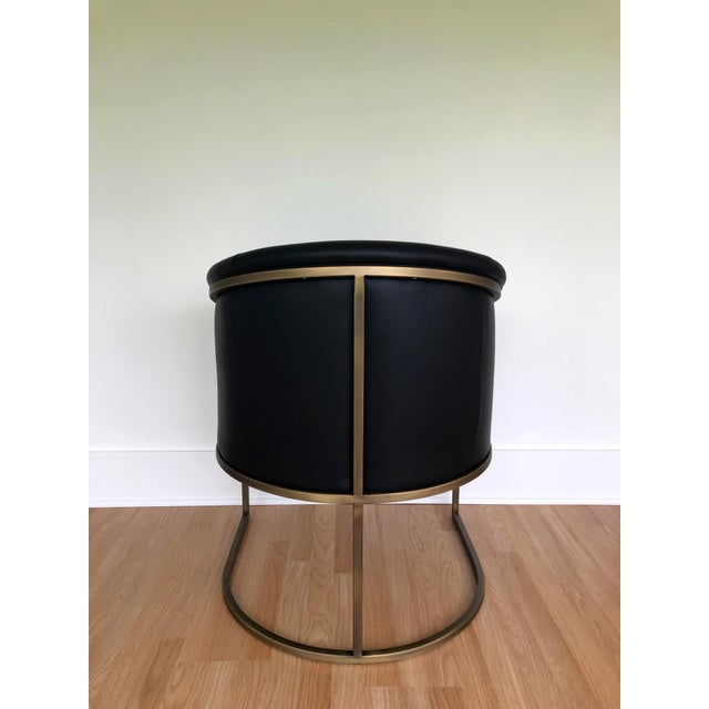 J L F Collections Black Leather Barrel Chairs - a Pair For Sale In Seattle - Image 6 of 9