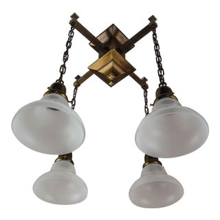 Arts & Crafts Mission Flush Mount Light Fixture (4-Light)