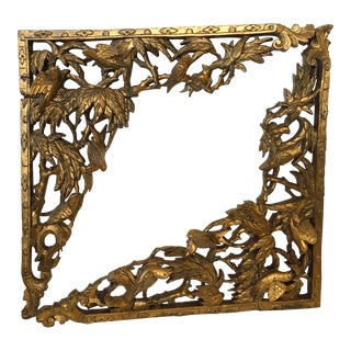 Old Chinese Gilt Wood Fragments, Pair For Sale