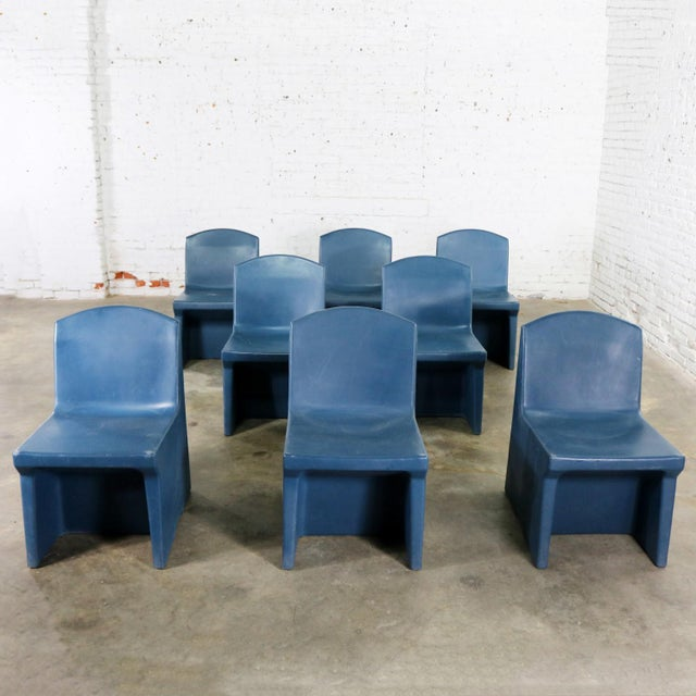 Industrial Blue Molded Plastic Side or Slipper Chairs by Norix Set of Eight For Sale - Image 3 of 13