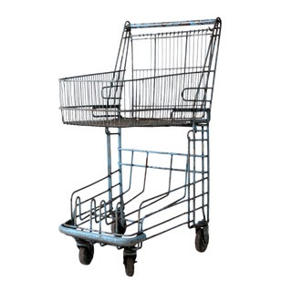 Vintage Metal Shopping Cart For Sale