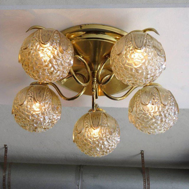 1960s Mid-Century Modern Five-Globe Flush Mount Chandelier For Sale In Los Angeles - Image 6 of 11