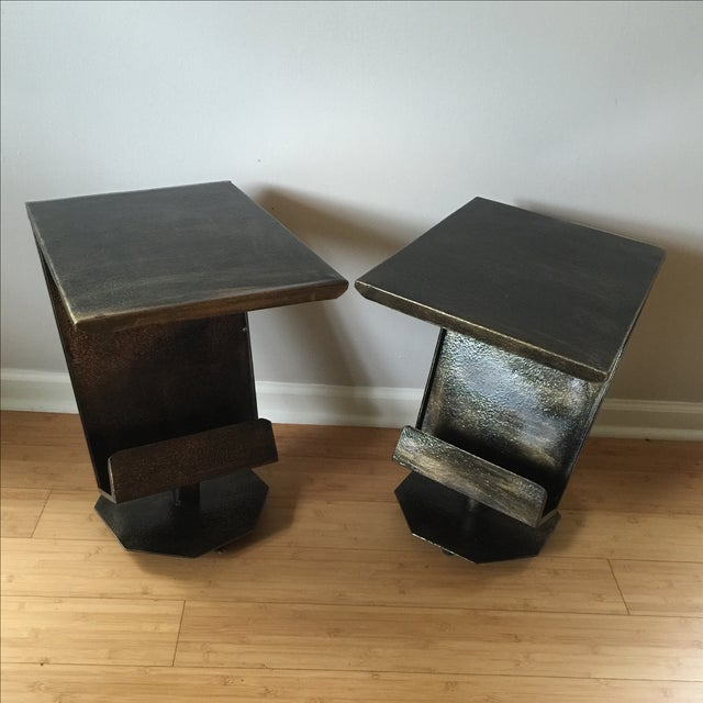 Art Deco Artist Bronze Patina Side Tables - A Pair - Image 2 of 7