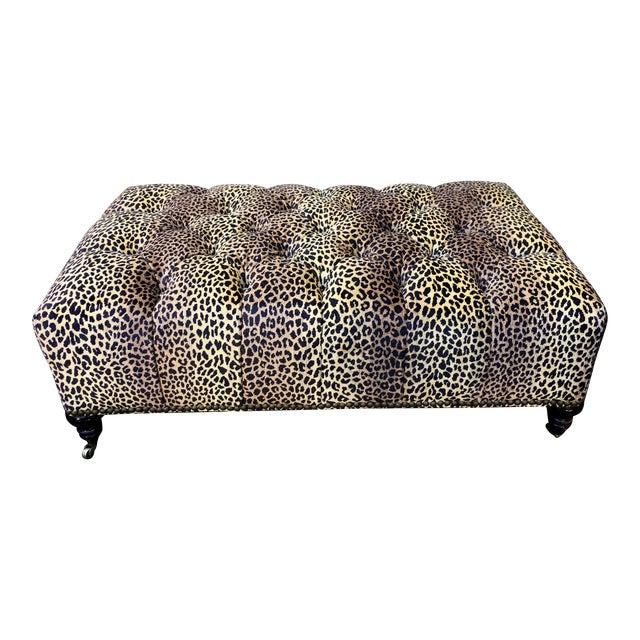 Superb Chelsea House Designer Cheetah Leopard Tufted Ottoman For Sale