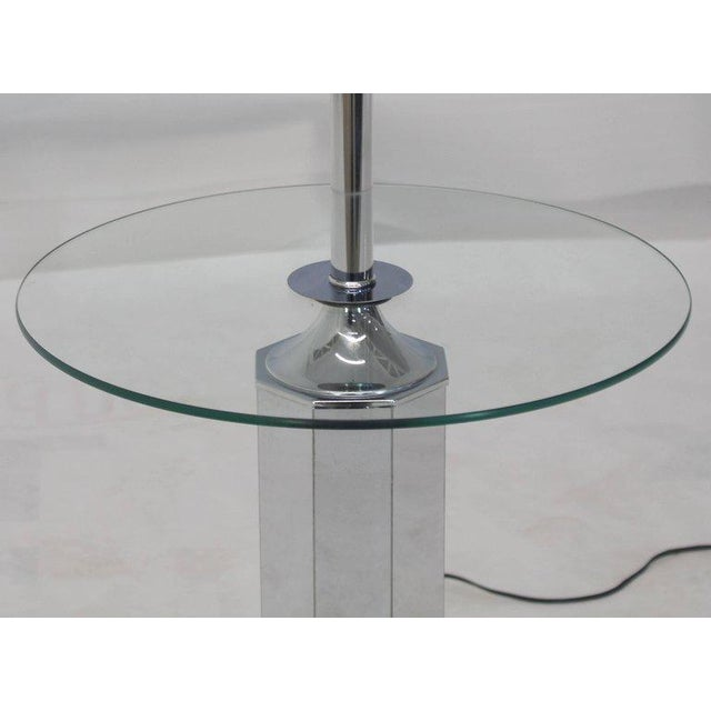 Mid-Century Modern chrome round floor lamp side table.