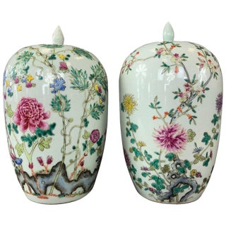 Pair of Fine Chinese Famille Rose Porcelain Covered Vases, Guangxu Period For Sale