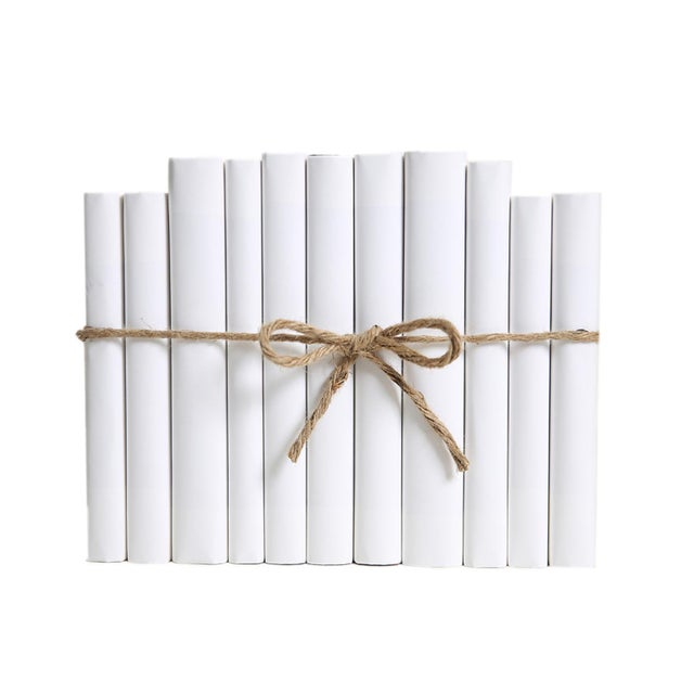 Modern Modern Wrapped Snowfall Colorpak : Decorative Books Wrapped in White Parchment For Sale - Image 3 of 3