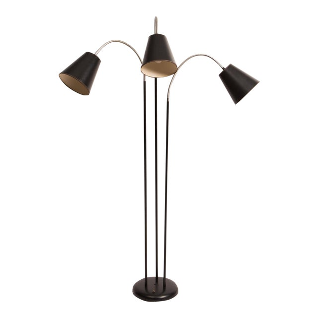 Exceptional three arm gooseneck floor lamp with black shades by three arm gooseneck floor lamp with black shades by david wurster for raymor image 1 aloadofball Choice Image