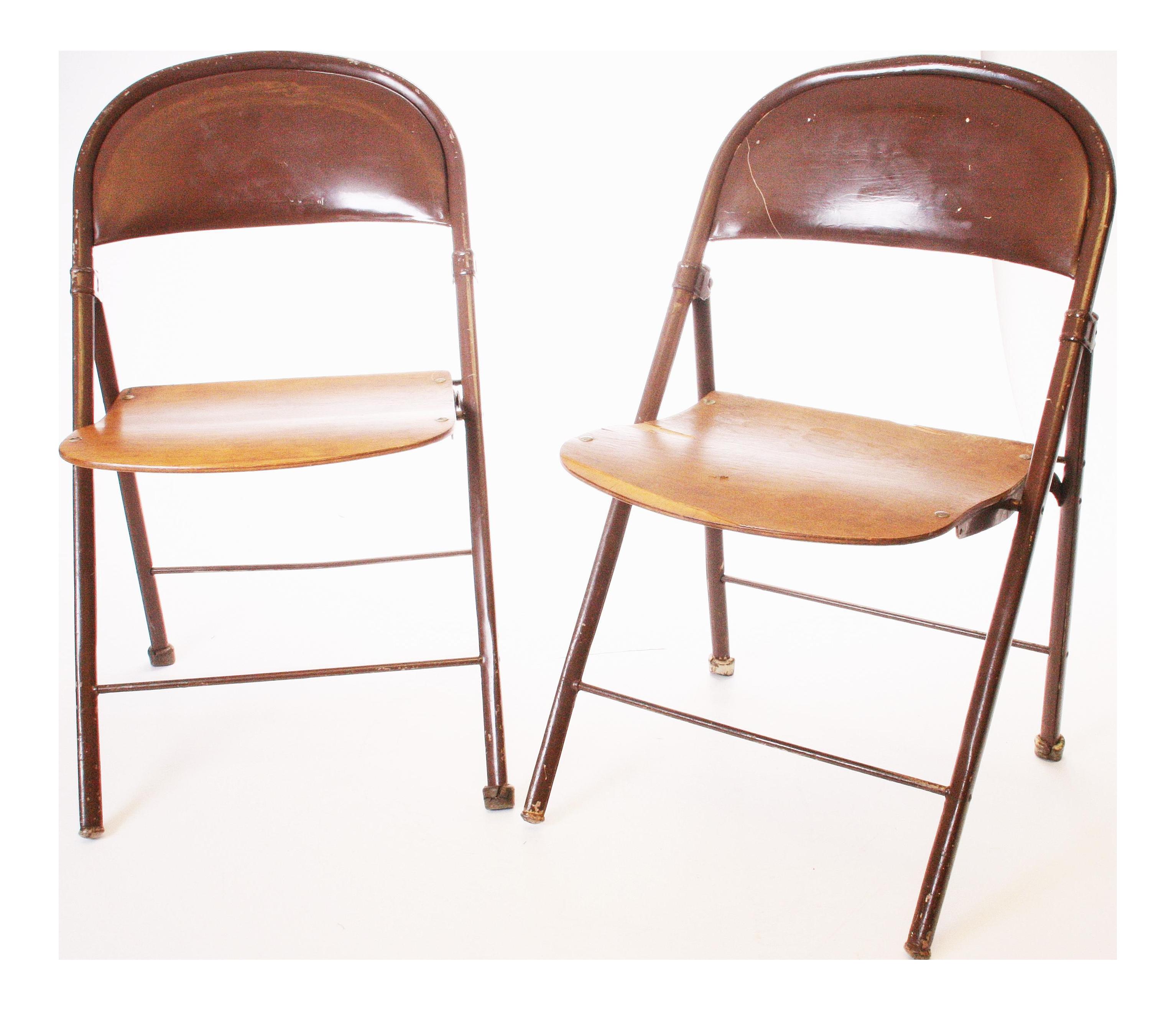 Vintage Metal U0026 Bentwood Folding Chairs   A Pair