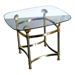 Vintage Hollywood Regency Clamshell Brass Gold & Glass Side Table For Sale