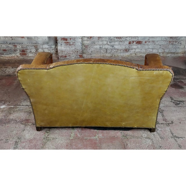 Brown Antique 1930s English Leather Settee For Sale - Image 8 of 9