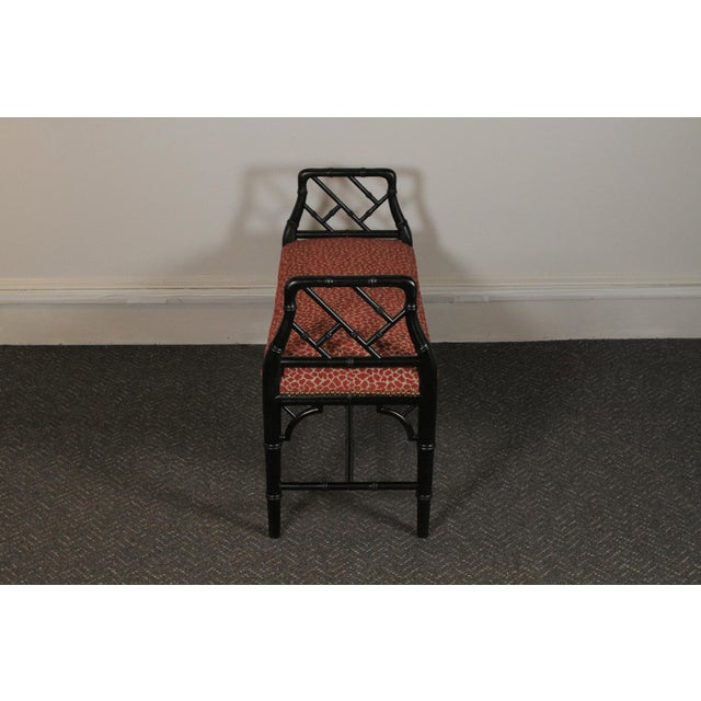 Asian Faux Bamboo Wood Upholstered Bench For Sale - Image 3 of 11