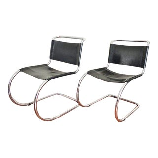 Pair of Cantilever Chairs in the Style of Mies Van Der Rohe | Black Leather Vintage Chairs
