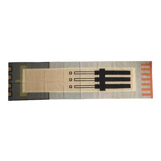 "Vintage Contemporary Kilim Rug Runner - 3'1"" X 11'9"" For Sale"
