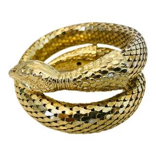 1980s Whiting & Davis Gold Mesh Two Coil Snake Bracelet For Sale