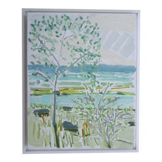 """Trees by the Water I"" Contemporary Landscape Mixed-Media Painting by Karen Blair, Framed For Sale"