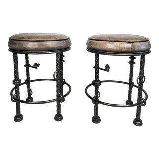 1980s Ilana Goor Iron and Leather Stools - a Pair For Sale