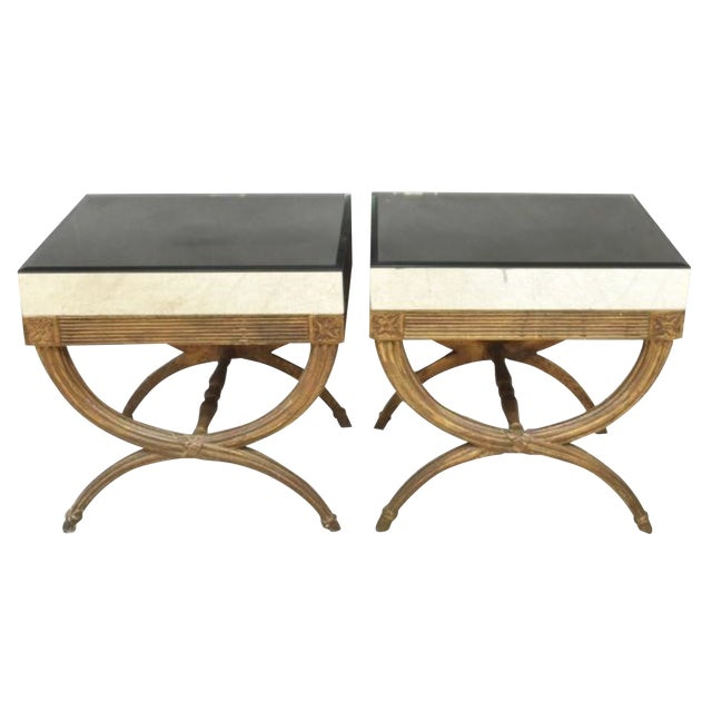 Continental Directoire Curule Mirrored Side Tables - a Pair For Sale