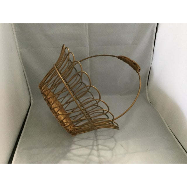 Gold Vintage Metal Basket With Bamboo Bottom For Sale In Columbia, SC - Image 6 of 8