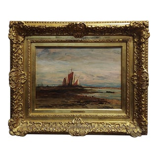 Homer Dodge Martin -Sailboat at Shore -19th Century Oil Painting For Sale