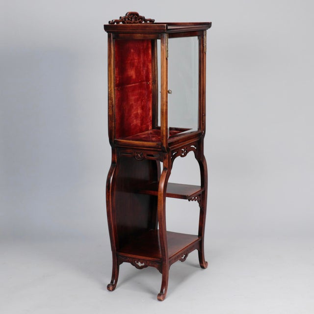 Glass Tall Narrow Chinese Carved Wood Vitrine Display Cabinet For Sale - Image 7 of 11