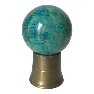 Italian Marble Orb on Brass Stand