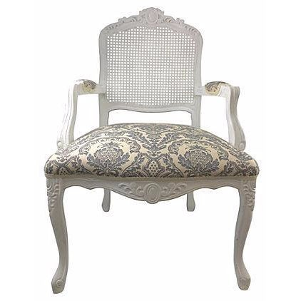 French White Cane & Linen Chair - Image 1 of 5