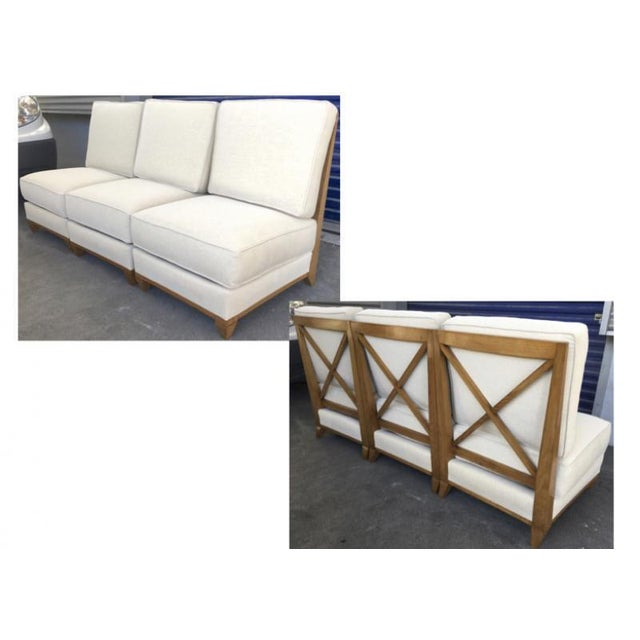 Jacques Adnet Oak Couch made of 3 Sleeper Chair Separable into a Couch.